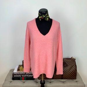 LOFT Ann Taylor Pink V-Neck Sweater Top Medium